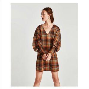 Zara Checked Orange Plaid Puffy Sleeve Dress Med